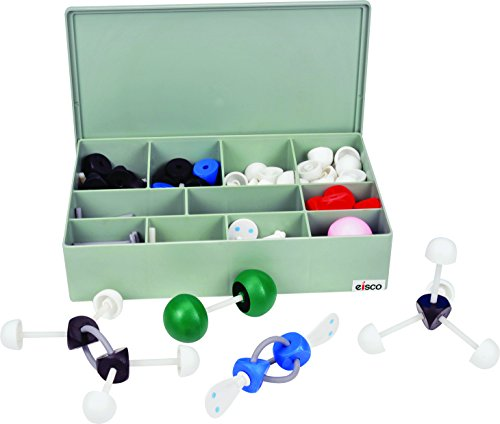 Molecular Model Kit (263 Pieces), VSEPR Model Advanced Set, Organic and Inorganic Chemistry, Multifaced for Complex Arrangements with Double/Triple Bonds, Orbitals with 2 Dots, Large Pieces, Case - Incl Case