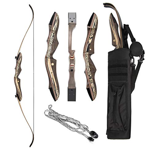 """JEKOSEN 2019 Eagle Eye Wooden Takedown Archery Recurve Bow 62"""" Hunting Bow- Include Back Arrows Quiver Bag and Bow Stringer Tool Right & Left Hand 25-60LBS Draw Weight"""