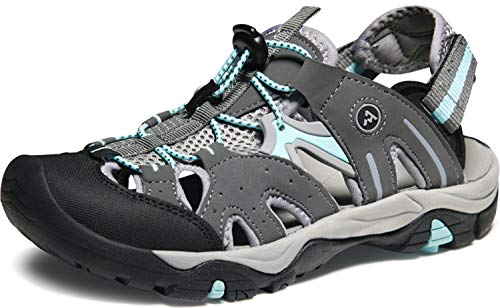 ATIKA Women's Sports Sandals Trail Outdoor Water Shoes 3Layer Toecap, Rocky(w221) - Dark Grey & Aqua, 6