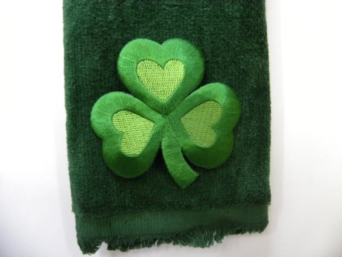 (St. Patrick's Clover Hand Bath Fingertip Towel Green Applique Shamrock)