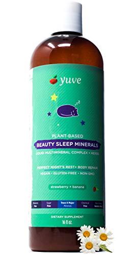 - Yuve Liquid Natural Sleep Aid Multimineral - Complete Mineral Herbal Complex (Valerian Root, Magnesium, Calcium) - Non-Habit Forming Vegan Vitamins for Sleeping - Non-GMO, Melatonin & Sugar Free 16oz