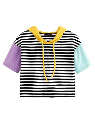 Romwe Womens Fashion Hoodies Contrast Neck and Sleeve Striped Tee Shirt Top Blouse