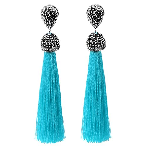 Oval Silk Candle - Long Tassel Earrings Bohemian Silk Crystal Dangle Drop Earrings For Women Sky Blue