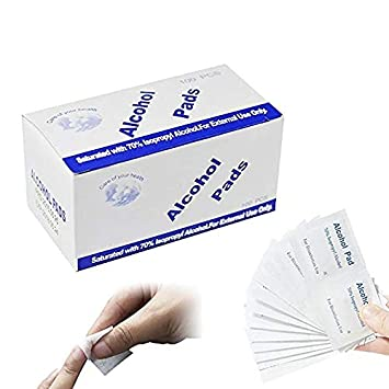 Aolvo Almohadillas de alcohol preparadas, toallitas con alcohol envueltas individualmente, ideal para la limpieza