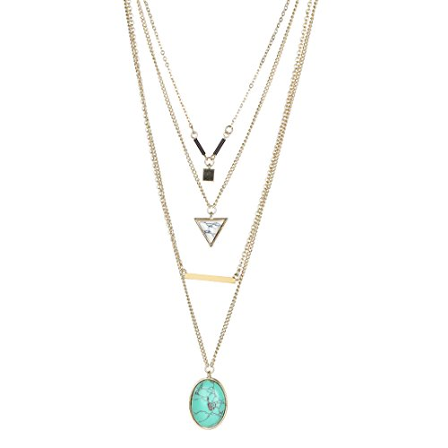 Fettero Womens Natural Stone Four Layered Pendant Long Chain Necklace 14K Gold Plated with Round Triangle White Turquoise