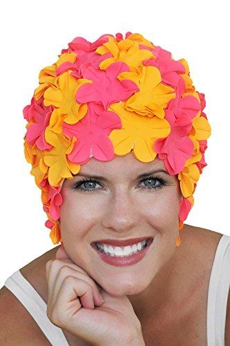 (SYNC Original Swimwear Petal Swim Caps I Vintage Retro Flower Bathing Cap Limited Edition: Passion)