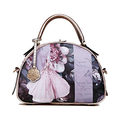 urse | Unique Handmade Painted Hollywood Retro Vintage Graphic Design Handbag (BB8606) (Light Gold) ()