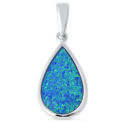 Tear Drop Lab Created Blue Opal .925 Sterling Silver Pendant