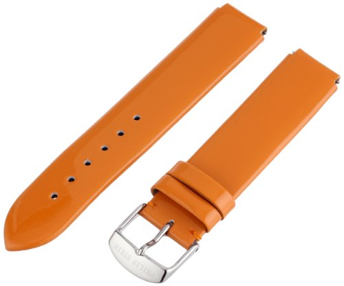Philip Stein 1-LOR 18mm Patent Leather Orange Watch Strap