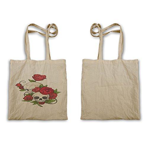 Tote Bag Rose Rosse Con Teschio U636r
