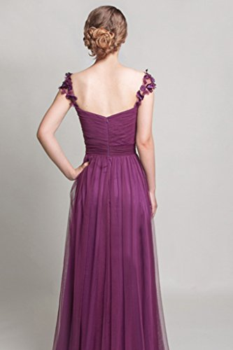 Long Dress BessWedding Cap Sleeve Purple Sweetheart Tulle Sexy 4 Bridesmaid Womens EqxnOqH86