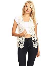 Anna-Kaci Womens Floral Crochet Lace Trim Sleeveless Open Front Vest Cardigan