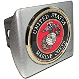 US Marine Corps USMC ''Brushed Silver with Gold Plated Seal Emblem'' Metal Trailer Hitch Cover Fits 2 Inch Auto Car Truck Receiver