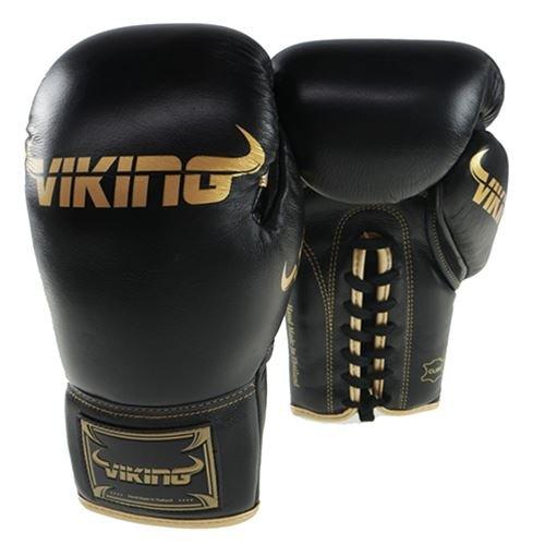 Viking Pro BoutレースUpボクシンググローブNappaレザーブラック/ゴールド – 12oz   B06XSCJ8Y2
