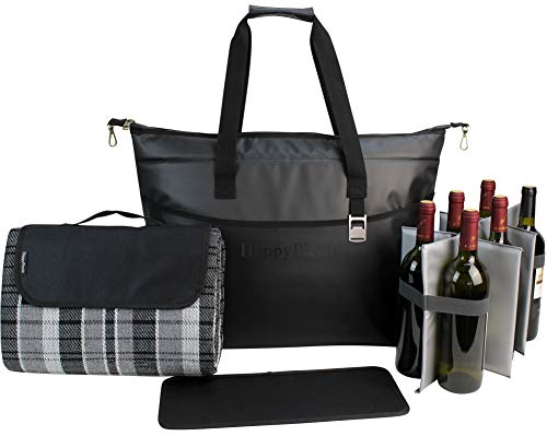 Large Insulated Tote Bag 40 Cans, Picnic Bag, Tote Cooler with Large Picnic Blanket, Waterproof Wine Cooler, Shopping Insulated Bag, Black]()