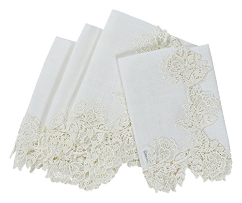 """Manor Luxe English Rose Lace Trim Napkins (Set of 4), 20 x 20"""", White"""
