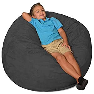 Comfy Sacks 3 ft Memory Foam Bean Bag Chair, Charcoal Micro Suede
