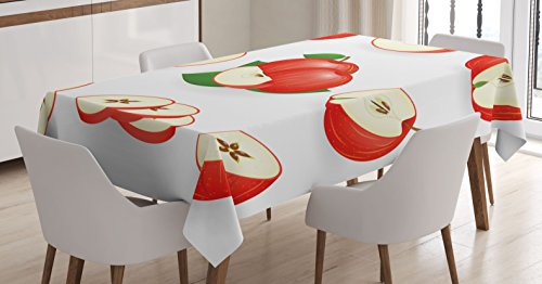 Ambesonne Sweet Decor Tablecloth, Yummy Chopped Apple Slices Juicy Fresh Fruits Delicious Nature Illustration, Dining Room Kitchen Rectangular Table Cover, 52 W X 70 L Inches, Scarlet Cream (Apple Tablecloth)