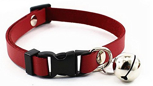 (Adjustable Pet Dog Cat PU Leather Collar Release Buckle With Bell XS,Red)