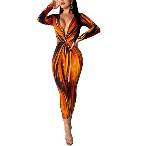 (Women's Sexy Deep V Neck Long Sleeve Floral Printed Bodycon Midi Dress Orange)
