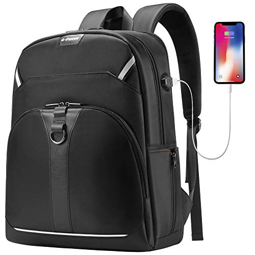 G-FAVOR Travel Laptop Backpack, Business Laptop Backpack with USB Charging Port for Men Womens, College School Computer Backpack, Casual Daypack Fits 17.3 15.6 Inch Laptops and Notebook, Black
