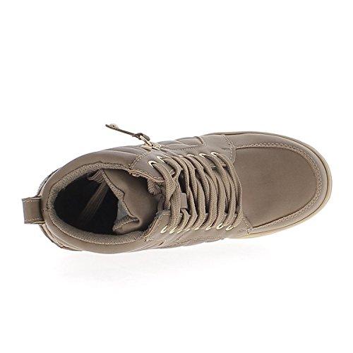 Scarpe da ginnastica offset rising in ecopelle marrone con tacco 7cm