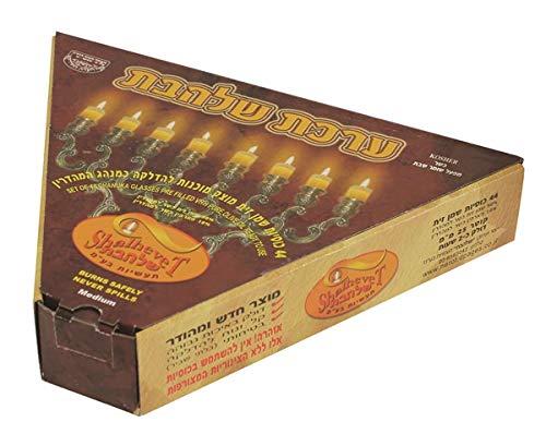 Ben & Jonah Lamp Lighters Chanukah Pre-Filled Oil Solid Cups-44 Count Menorah Hanukkiah, Silver