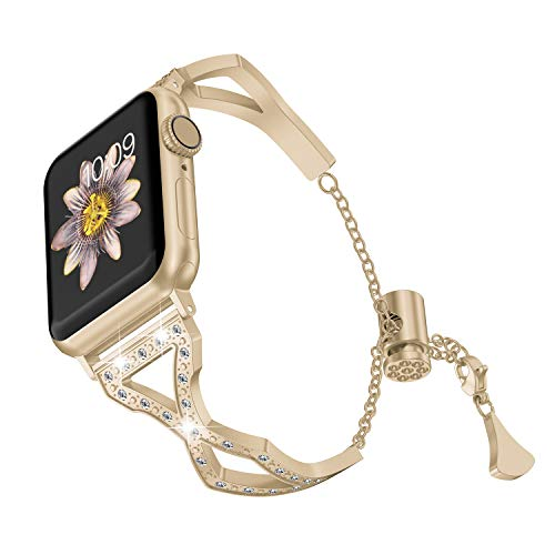 TOYOUTHS Bling Bracelet Compatible with Apple Watch Band 38mm 40mm Champagne Gold for Women Series 4 Stainless Steel Replacement Wristbands fit iWatch Series 3 2 1 Metal Cuff Bangle Strap