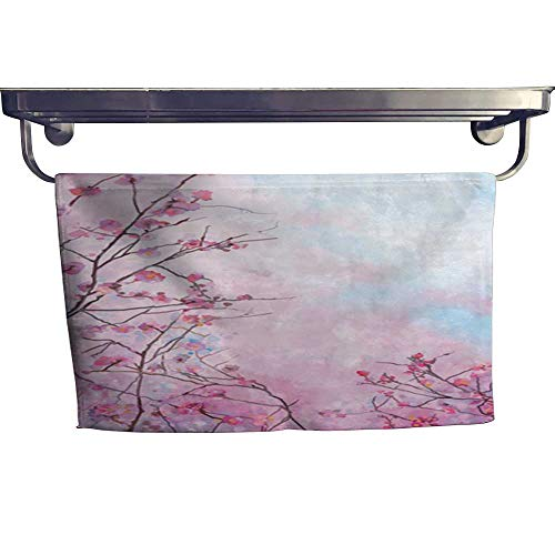 warmfamily Absorbent Towel Painting Pink Japanese Cherry - Sakura Floral Spring Blossom Background Towel W 10