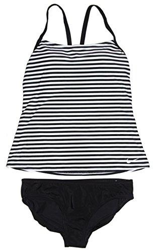 NIKE Women's Tankini 2-Piece Racer Back Swimsuit Black/White (Large)
