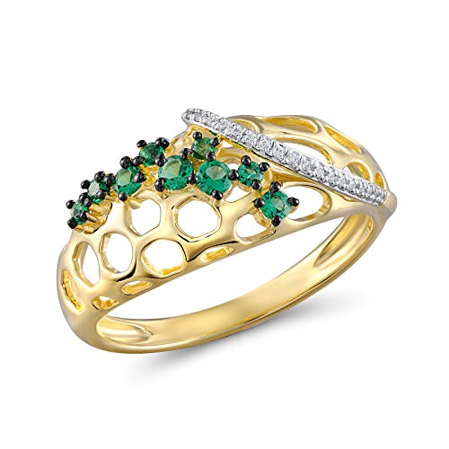 Diamond Engagement Rings for Women - Promise Rings for Her 0.04 Carat 14K Yellow Gold Ring with White Diamond and Green Garnet Gold Solitaire Wedding Rings for Women