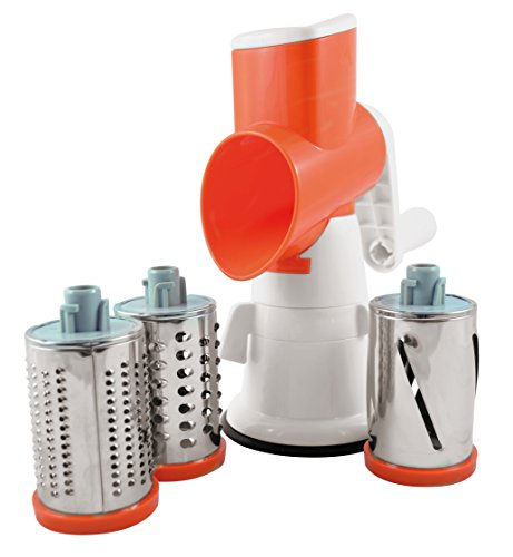 Paderno World Cuisine Drum Grater/Countertop-Mounted Plastic Drum Slicer incl. 3 Different Drums Made of Stainless ()