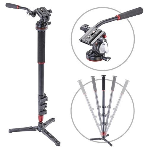 3Pod Orbit 4 Section Aluminum Photo/Video Monopod with Fluid Base and Lightweight Fluid Video Head by 3Pod