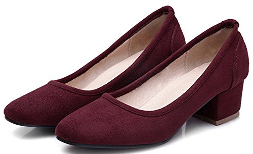 Idifu Mujeres Comfy Square Toe Mid Chunky Heel Pumps Suede Low Cut Slip On Zapatos De Oficina Wine Red