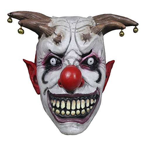 Bell Clown Mask Halloween Latex Horror Bell Headgear Wraith Scary Mask for Adults Performance Props Carnival Party Mask