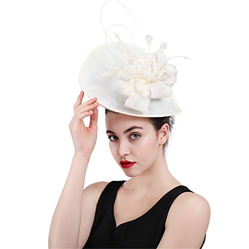 HANXIAODONG Cocktail Tea Party Headwear Women Fascinator Hat Party Cocktail Bridal Wedding Halloween Hat Hairpin Accessories Cocktail Royal Ascot Pillbox -