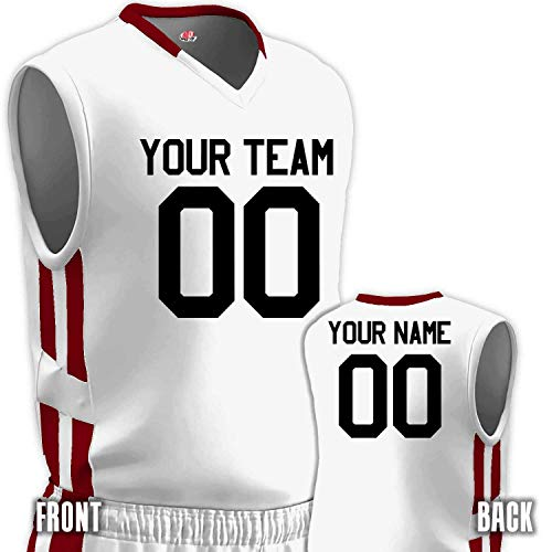 - Custom Basketball Jersey Old School Style White and Cardinal Red Adult Small