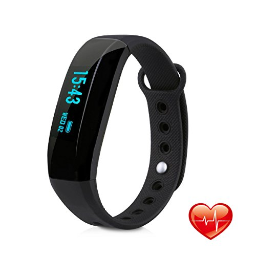 Fitness Tracker, EIVOTOR Activity Tracker with Wrist Based Heart Rate Monitor, Water Resistant Smart Band with Step Tracker Sleep Monitor Calorie Counter Notification Alerts for Android iOS Smartphone