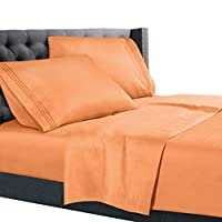 Nestl Bedding - Juego de sábanas de 4 piezas - Juego de sábanas de 1800 bolsillos profundos - Sábanas de microfibra cepilladas de hotel de lujo doble - Sábanas ajustables con bolsillos profundos, Sábanas, Fundas de almohadas, King - Naranja Claro