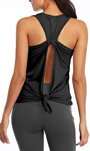 Sanutch Open Back Workout Shirts Yoga Tops Tie Back Tank Tops for Women