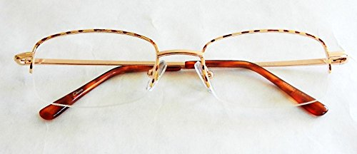 ((2 PACK) Magnivision +1.75 Tortoise Gold Wire 1/2 Frame Reading Glasses w/ Spring Hinges (161) )