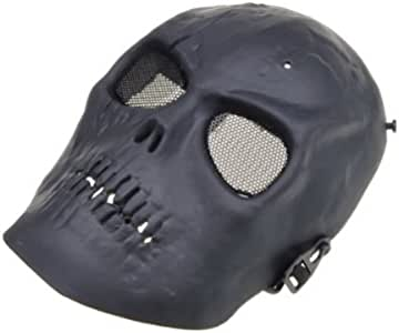 MECO(TM) Skull Skeleton Mask Paintball Full Face Airsoft Army Game Protect (Gray Black)