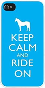 Rikki KnightTM Keep Calm and Ride On - Sky Blue Color White Hard Case Cover for Apple iPhone? 4 & 4s Universal: Verizon - Sprint - AT&T - Unisex - Ideal Gift for all occassions! by runtopwell
