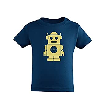 Apericots Adorable Unisex Baby Infant Navy Blue Tee Shirt With Cute Robot Design