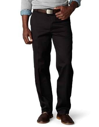 Dockers Men's Classic Fit Flat Front Signature Khaki - 30W x 30L - Black (Cotton)-discontinued