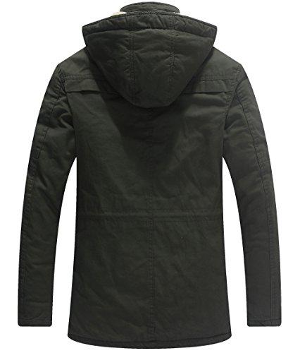 WenVen Homme Veste Chaude à Capuche d'hiver Manteau Sherpa Epaissi Parka Coupe-Vent d'Extérieur Manteau d'Extérieur Mi…