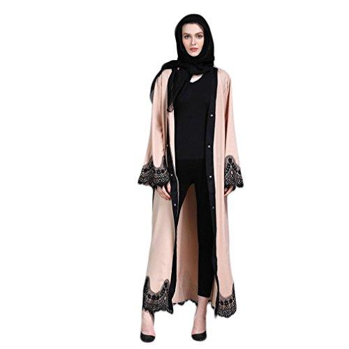 Fiaya Muslim Dress Dubai Kaftan Women Abaya Islamic Clothing Lace Splicing Long Coat Middle East Long Maxi Dress (Beige, M)