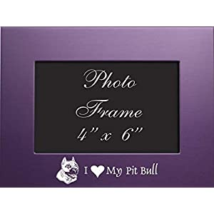 4×6 Brushed Metal Picture Frame-I love my Pit Bull-Purple