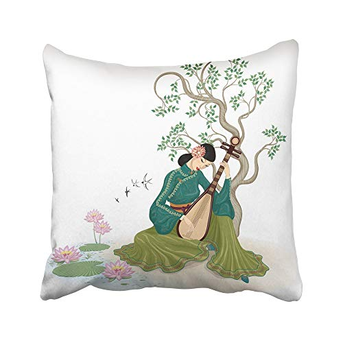 Emvency Decorative Throw Pillow Covers Cases Colorful Beautiful Chinese Woman Sitting Playing The Traditional Musical Instrument in Garden 16x16 inches Pillowcases Case Cover Cushion Two Sided]()