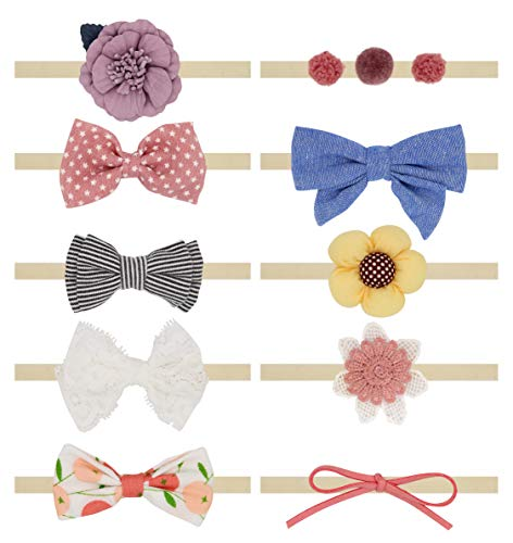 (Baby Girl Headbands and Bows, Newborn Infant Toddler Hair Accessories, 10-Pack)